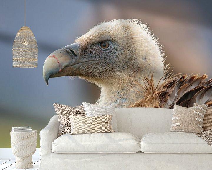 Impression: Portrait d'un vautour fauve sur Photo Henk van Dijk