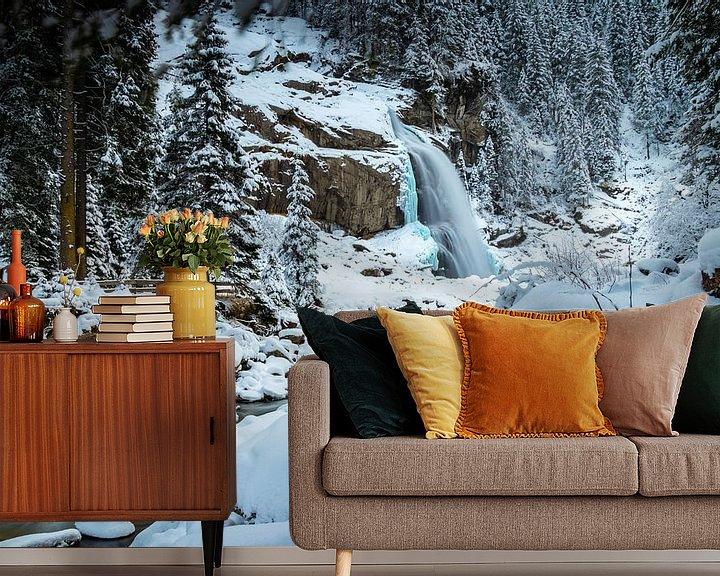 Sfeerimpressie behang: Waterval in de winter van Durk-jan Veenstra