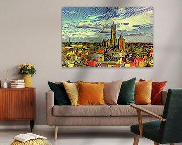 Schilderij van de Skyline van Utrecht in de stijl van Picasso