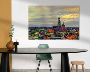 Kunstwerk Utrecht: Warme Skyline met de Utrechtse Dom