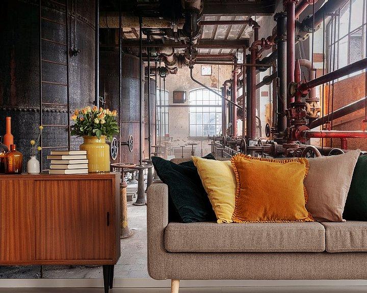 Sfeerimpressie behang: Verlaten Industrie. van Roman Robroek