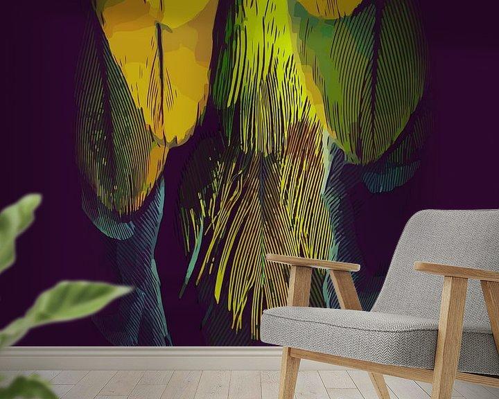 Sfeerimpressie behang: Veren van een vogel, van een papegaai van The Art Kroep