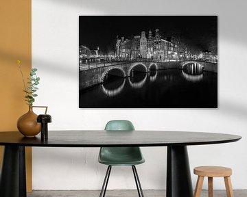 Amsterdam am Abend in schwarz-weiß - Keizersgracht von Tux Photography