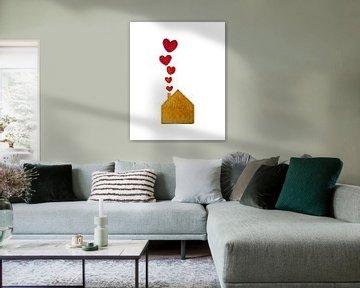 Ein Haus voller Liebe | Aquarellmalerei