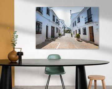 une rue avec des maisons blanches à zuheros en espagne