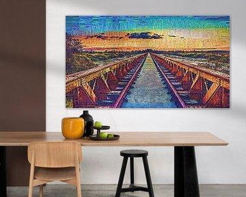 Die schöne Brücke von Moerputten als Federzeichnung, Ölmalerei, Gouache, Impasto und andere Variante von Maurice Meerten
