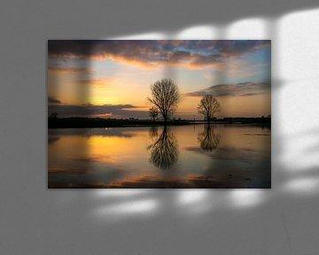 Coucher de soleil sur les plaines inondables du Lek