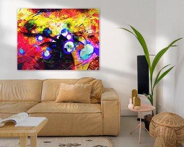 Modern, Abstract Digitaal Kunstwerk in Rood, Geel, Zwart, Paars van Art By Dominic