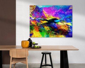 Modern, Abstract Digitaal Kunstwerk in Blauw, Geel, Roze, van Art By Dominic