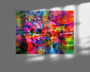 Modernes, abstraktes digitales Kunstwerk in Rot, Blau, Grün von Art By Dominic