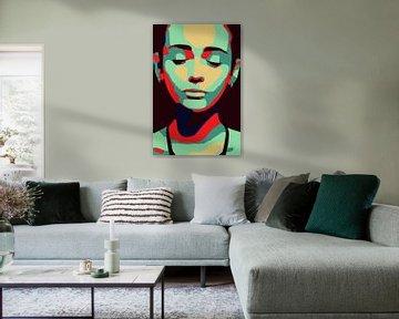 Minimalistisches Frauengesicht, geschlossene Augen, Zen, in der Pop Art von The Art Kroep