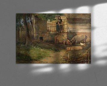 Schweine auf dem Bauernhof, Guillaume Anne van der Brugghen