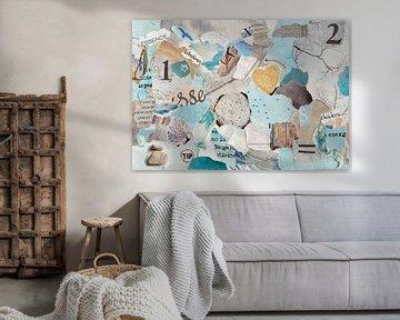 Collage zen de la nature dans des tons de bleu pastel et de vert de déchets de papier sur Trinet Uzun