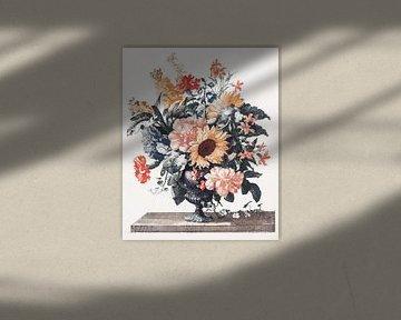 Stenen vaas met zonnebloemen en anjers, Johan Teyler