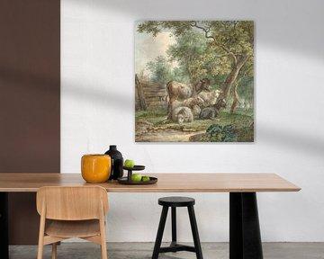 Vee in een boomgaard, Pieter Gerardus van Os