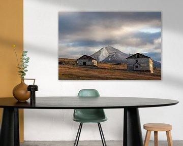 Verlaten huizen op Colesbukta, Spitsbergen van Michèle Huge