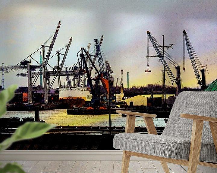 Sfeerimpressie behang: Uitzicht op Hansahwfen van Peter Norden