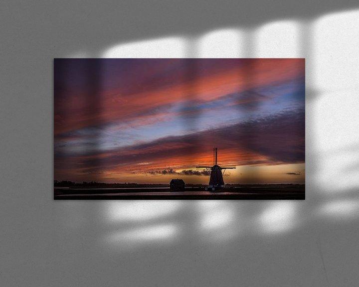 Sfeerimpressie: Molen Het Noorden Texel zonsondergang stilte voor de storm van Texel360Fotografie Richard Heerschap