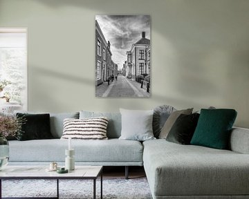 Kerkstraat IJsselstein in Schwarz-Weiß von Tony Buijse