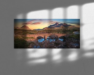 Isle of Skye Old Sligachan Bridge Panorama van Jean Claude Castor