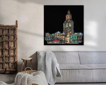 Kirche Saint-Gertrudis / Pfefferbus, in Bergen op Zoom , bei Nacht (Kunst) von Art by Jeronimo