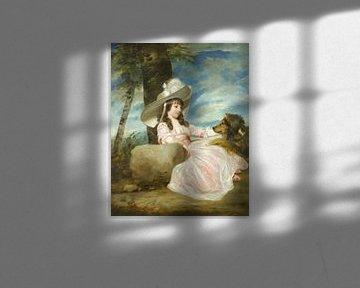 Porträt von Miss Anna Ward mit ihrem Hund Joshua Reynolds
