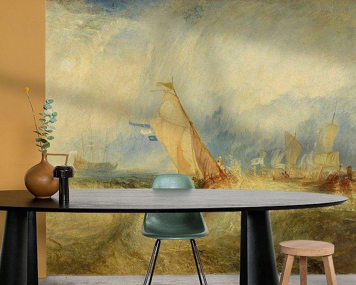 Sfeerimpressie behang: Van Tromp, die op het punt staat zijn meesters te plezieren, Ships a Sea, krijgt een Good Wetting, W