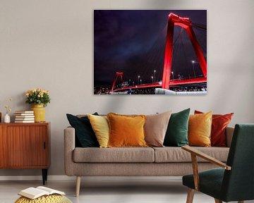 Willemsbrug in de Nacht van Erik Groen