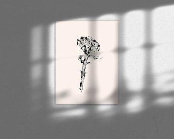 Monoprint Blume im Vintage-Format von Karin van der Vegt