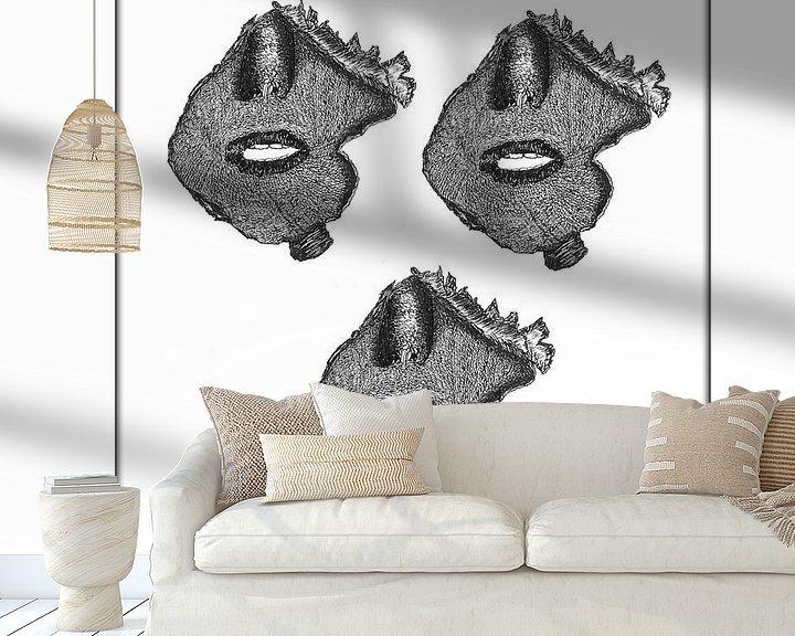 Beispiel fototapete: Der Mund als Gesicht von Wouter Springer