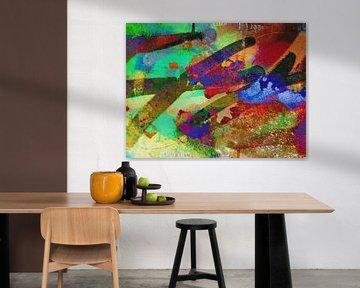 Modernes, abstraktes digitales Kunstwerk in Orange, Gelb, Grün von Art By Dominic
