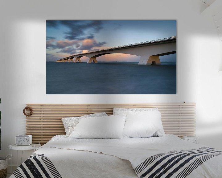 Sfeerimpressie: Zeelandbrug bij hoog water van Jan Jongejan