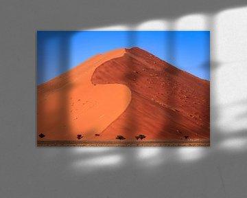 Een enorme zandheuvel in de Sossusvlei in Namibie. van Claudio Duarte