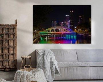 Brug over de Singapore rivier van Martin de Hoog