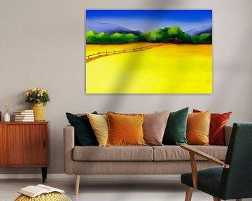 Schilderij van een kleurrijke landschap met een weg door gele velden
