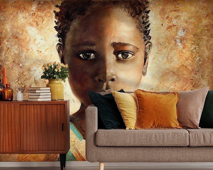 Beispiel fototapete: Afrikanisches Mädchen ( Malerei auf Leinwand) von Els Fonteine