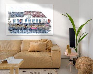 Das Teerzimmer in Bergen op Zoom (Aquarell) von Art by Jeronimo