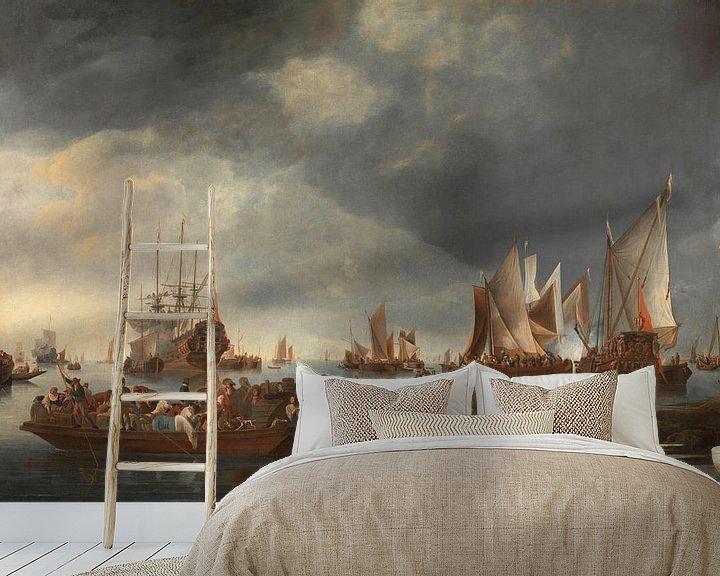 Sfeerimpressie behang: Haven met zeilboten en Ferry Boat, Hendrick Jacobsz. Dubbels