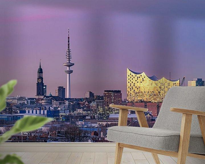 Beispiel fototapete: Elbphilharmonie & St. Michaelis Kirche & Fernsehturm Hamburgensie von Joachim Fischer