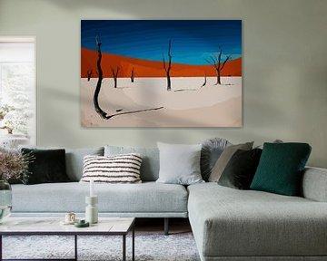 Woestijn in popart stijl - Zand, natuur, bomen, Sahara van The Art Kroep