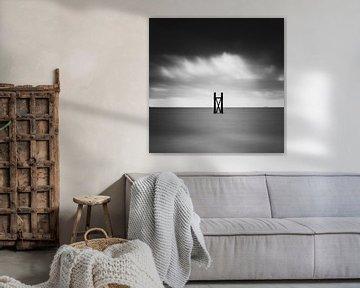 Minimalistisch zwart wit kustlandschap van Cathy Roels