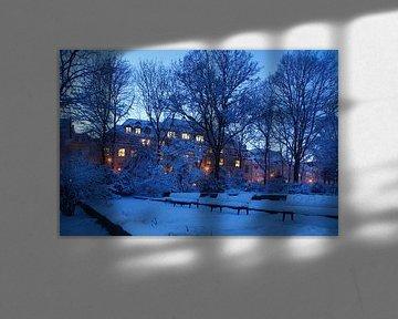 Park  Wallanlagen im Winter mit Schnee bei Abenddaemmerung, Bremen, Deutschland, Eurpoa I  Park Wall von Torsten Krüger