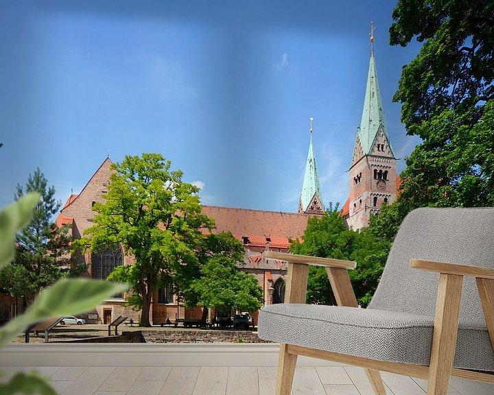 Sfeerimpressie behang: Dom van Augsburg , Oude Stad, Augsburg, Zwaben, Beieren, Duitsland, Europa I Augsburgse Domkerk , Au van Torsten Krüger