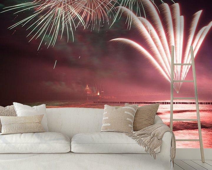 Beispiel fototapete: Feuerwerk am Strand von Zingst an der Ostsee von Christian Müringer