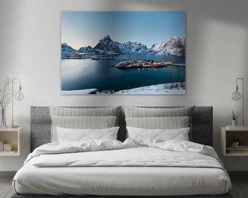 Sakrisoy, een eiland in de winterse bergen en fjorden van de Lofoten, Noorwegen van Sander Groffen