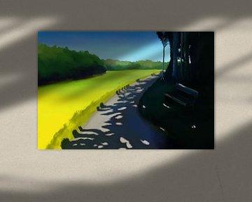 Schilderij van een landschap met interessante schaduwen op een pad