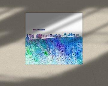 Amsterdam Skyline Silhouette Impressionistisch von Markus Bleichner