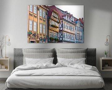 Oude stad van Mühlhausen in Thüringen van Werner Dieterich