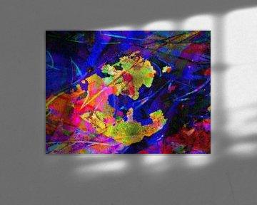 Modernes, abstraktes digitales Kunstwerk in Orange, Gelb, Blau, Violett von Art By Dominic