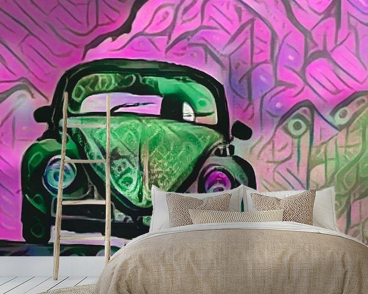 Beispiel fototapete: VW Käfer in pinken Wolken von Michael Ladenthin